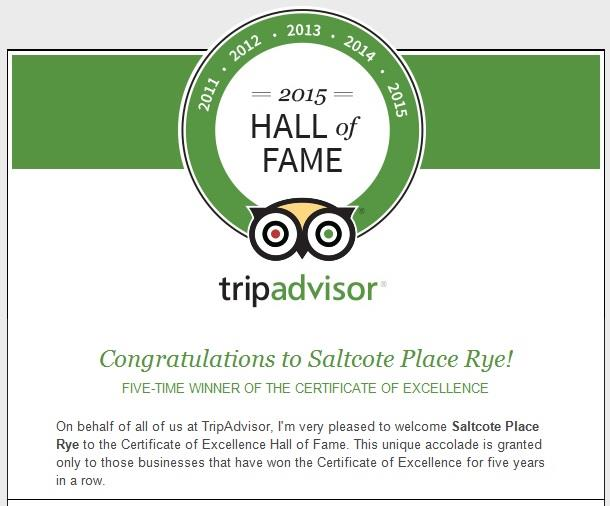 Saltcote Place tripAdvisor Rye Hall of Fame